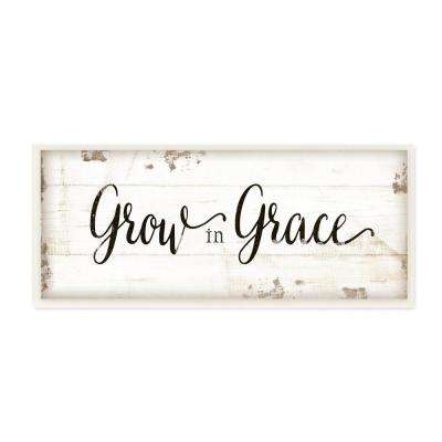 """7 in. x 17 in. """"Grow In Grace Cursive Typography"""" by Jennifer Pugh Printed Wood Wall Art"""