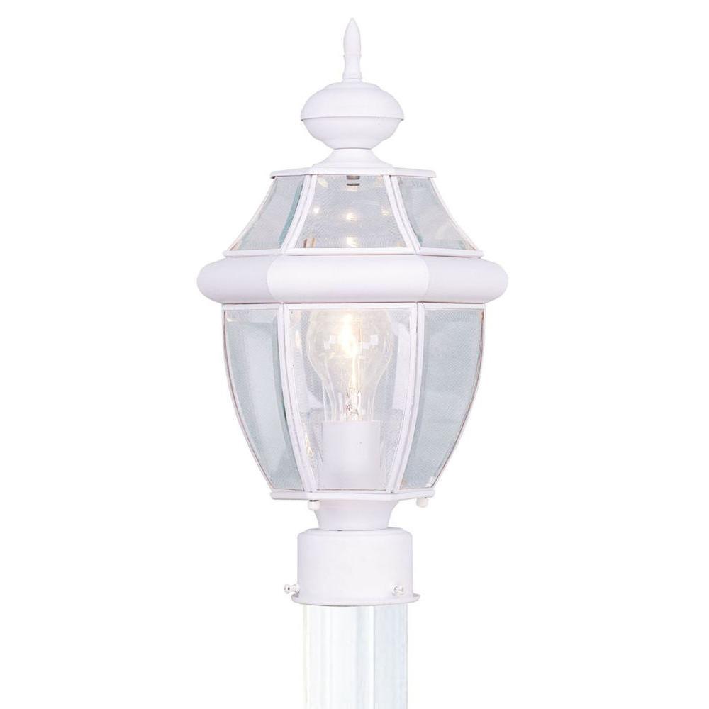 Livex Lighting Providence 1-Light Outdoor White Incandescent Post Lantern