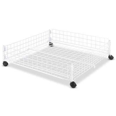 White Wire Collection 24.25 in. x 6.50 in. Rolling Underbed Cart