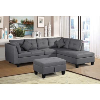 3-Piece Gray Linen 6-Seater L-Shaped Right-Facing Chaise Sectional Sofa with Ottoman