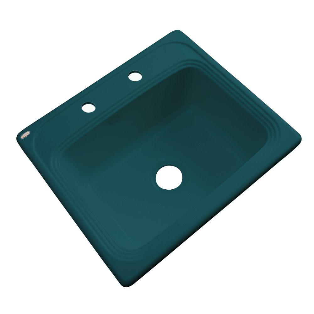 Thermocast Wellington Drop-In Acrylic 25 in. 2-Hole Single Bowl Kitchen Sink in Teal