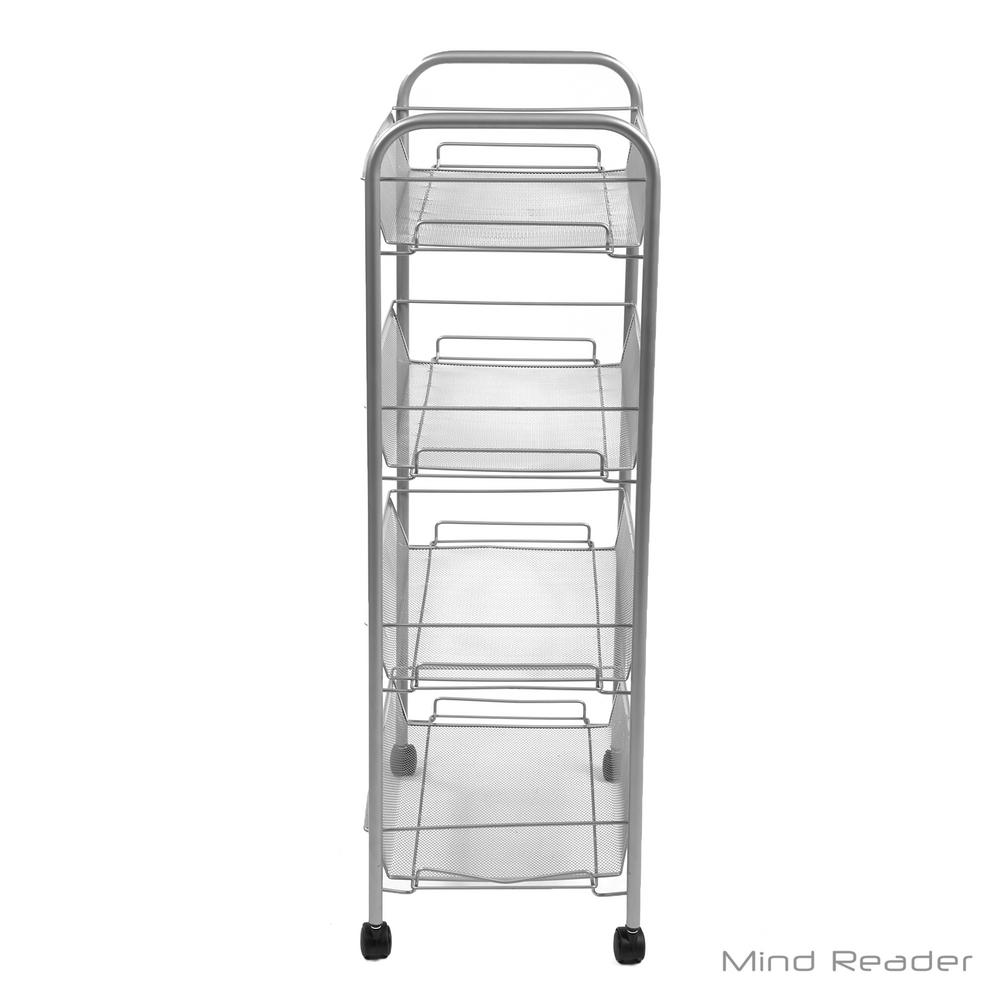 Beau Mind Reader 4 Tier Metal 4 Wheeled Office Cart In Silver