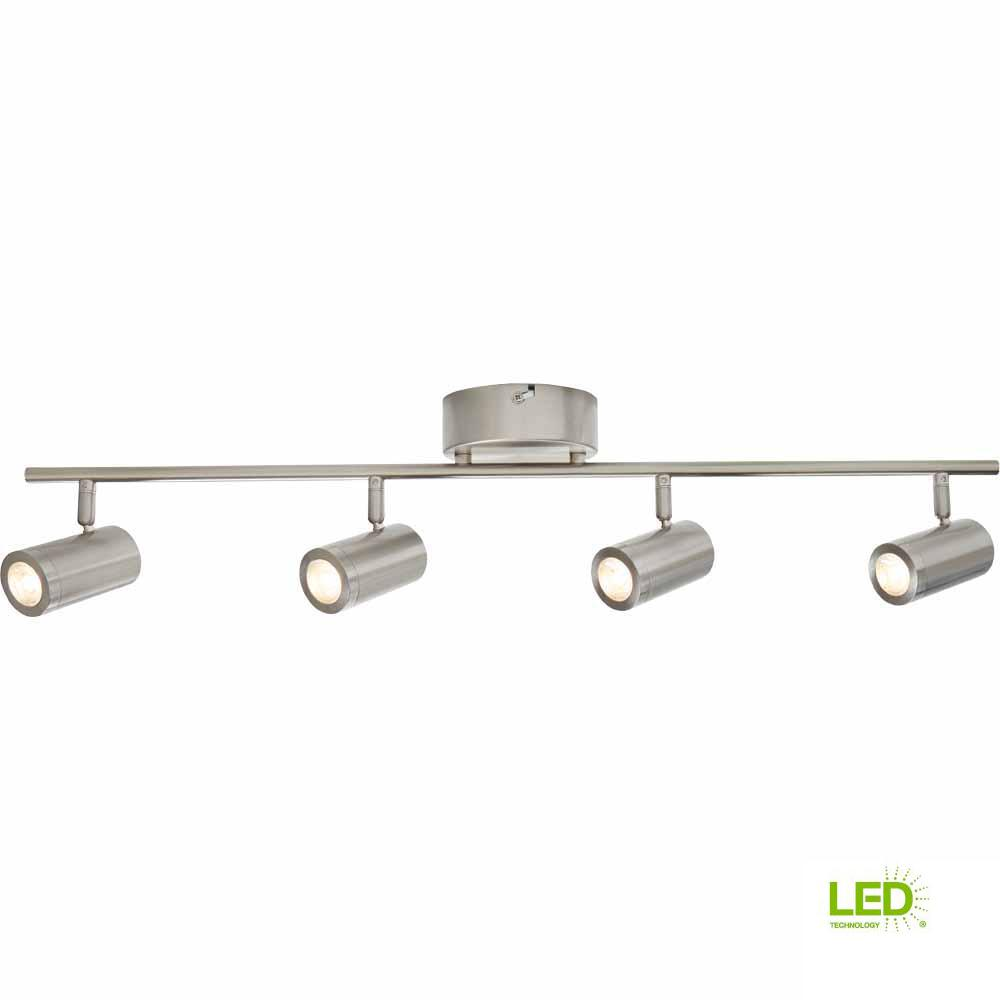 4 Light Brushed Nickel Integrated Led Track Lighting Kit