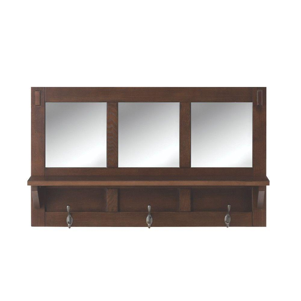 Home decorators collection artisan 18 in h 3 hook mdf wall shelf home decorators collection artisan 18 in h 3 hook mdf wall shelf with mirror in dark oak 9233000930 the home depot amipublicfo Gallery