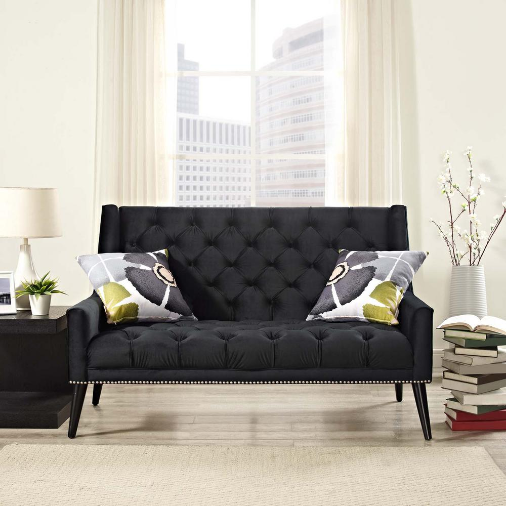Peruse Black Velvet Loveseat