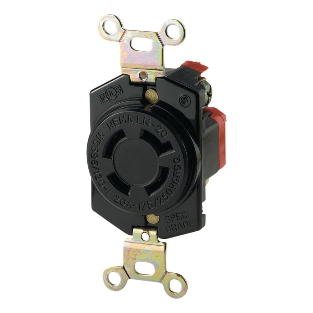 Eaton 20 Amp 125/250-Volt Hart-Lock Industrial Grade Receptacle with ...
