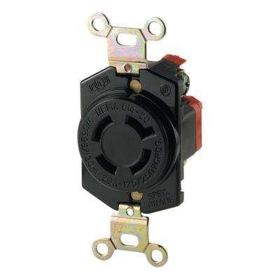 20 Amp 125/250-Volt Hart-Lock Industrial Grade Receptacle with Safety Grip, Black and White
