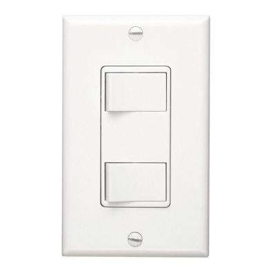 Two 15 Amp (20 Amp Total) 2-Function Single Pole Rocker Switch Wall Control in White