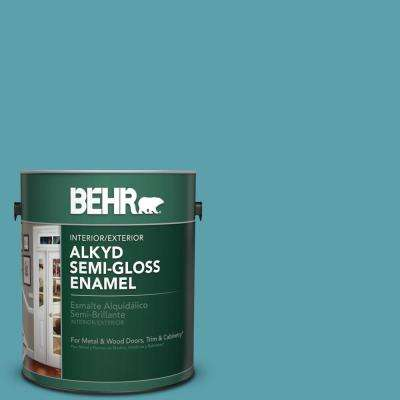 1 gal. #BIC-53 Turquoise Semi-Gloss Enamel Alkyd Interior/Exterior Paint