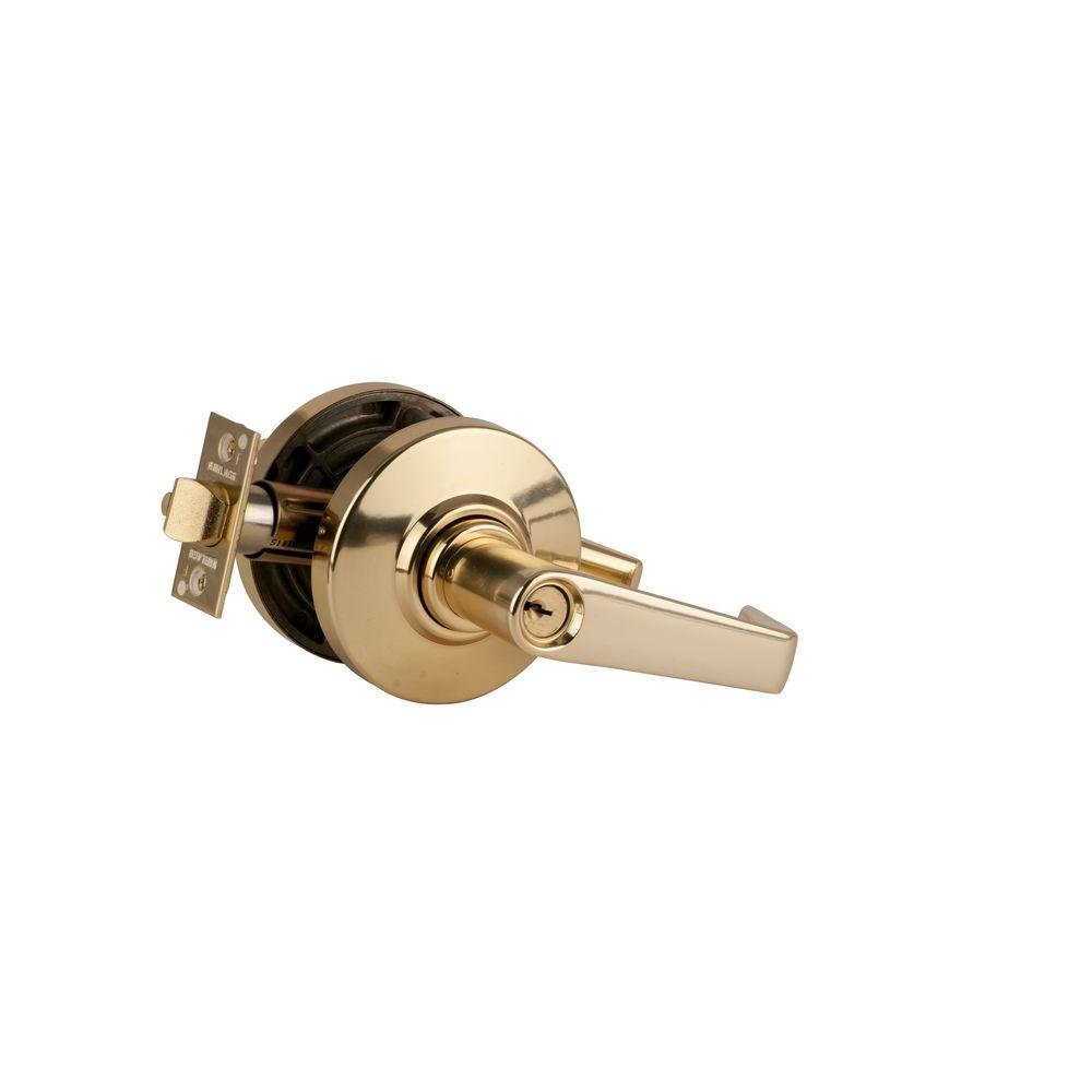 Schlage Saturn Bright Brass Commercial Storeroom Door