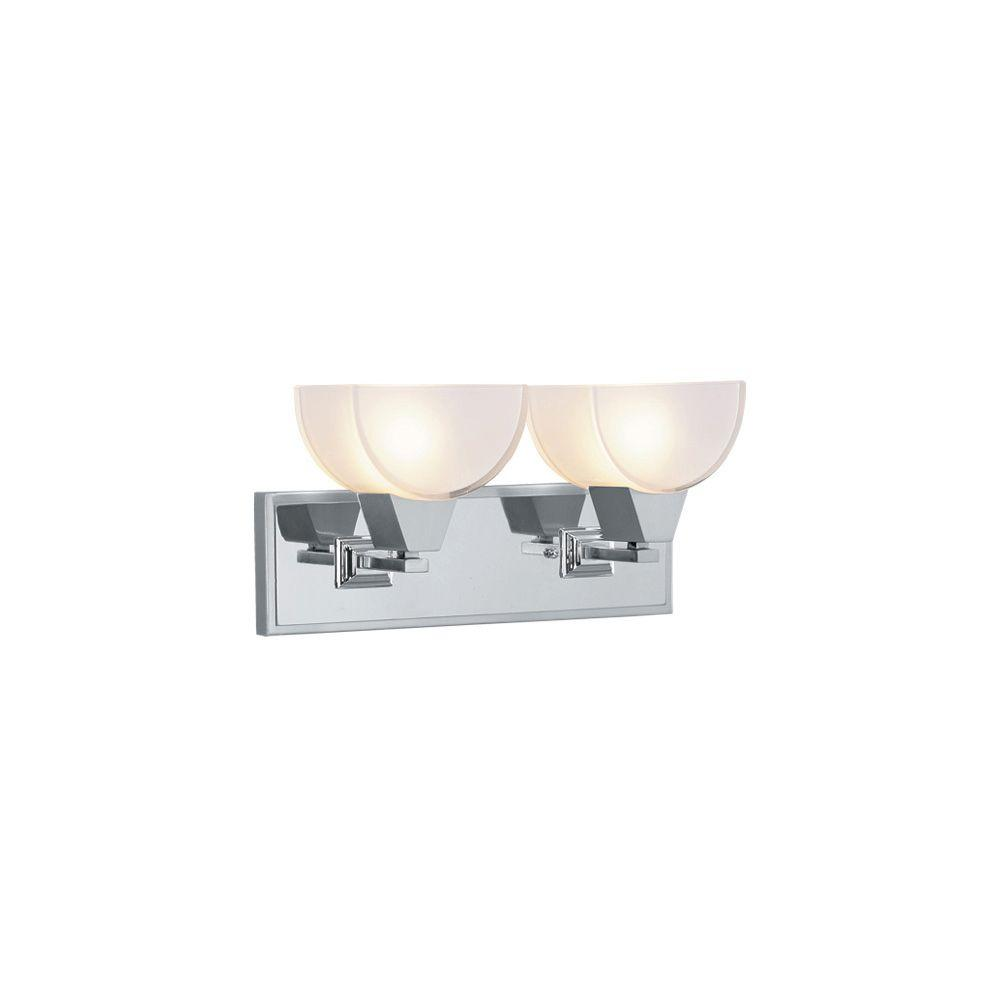 Livex Lighting 2-Light Brushed Nickel Bath Light with Chrome Insert