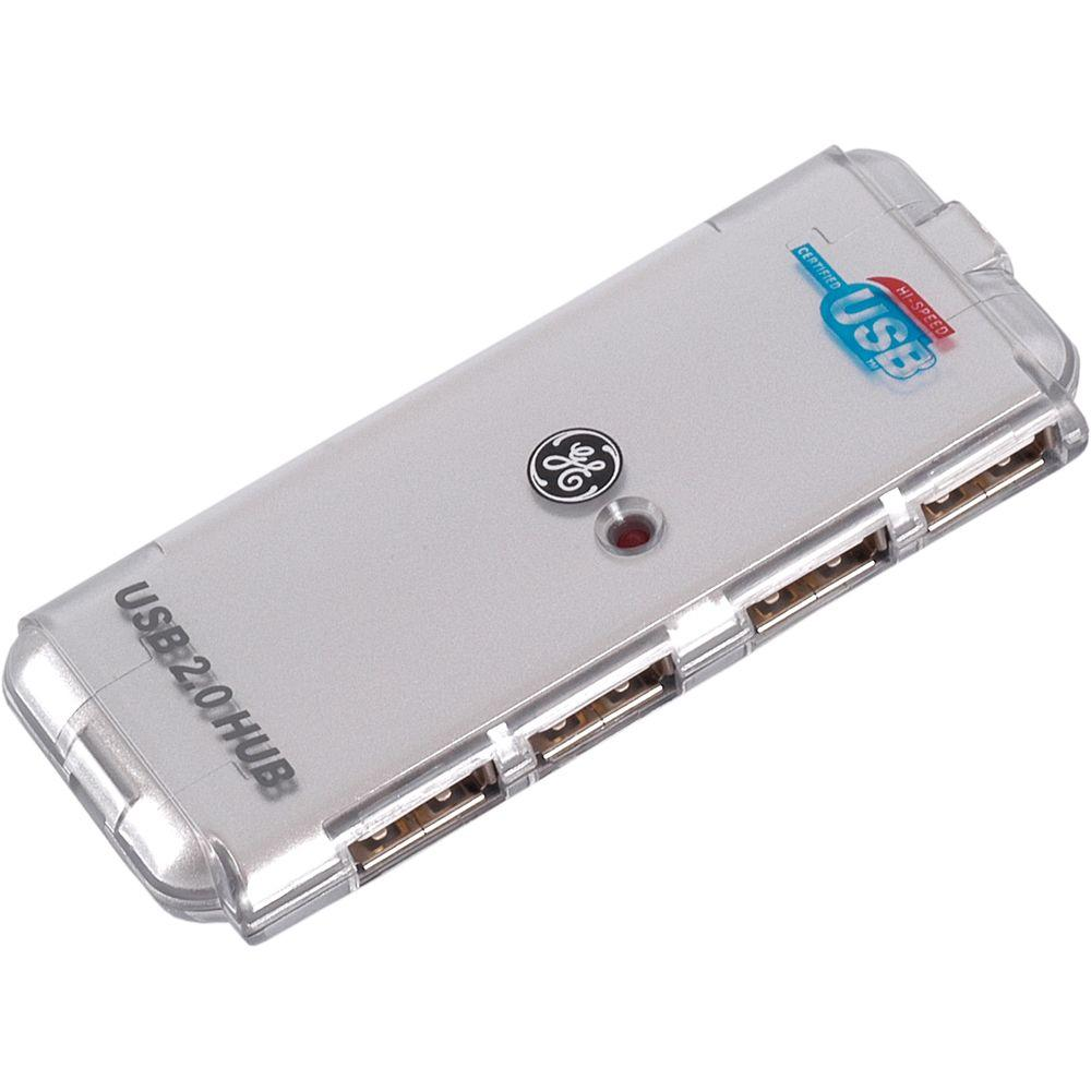 GE High Speed USB 2.0 4-Port Hub - Chrome