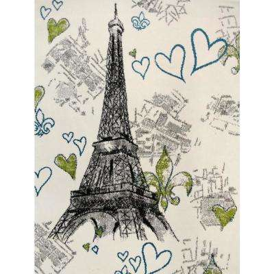 Multi-Color Kids Children and Teen Bedroom and Playroom Paris Eiffel Tower Design 4 ft. x 5 ft. Area Rug