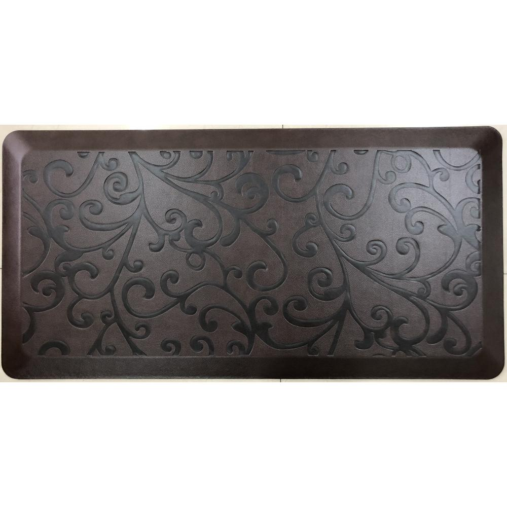TrafficMASTER Anti-Fatigue Brown 20 in. x 36 in. Embossed Comfort Kitchen  Mat
