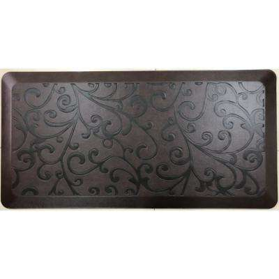 Anti-Fatigue Brown 20 in. x 36 in. Embossed Comfort Kitchen Mat