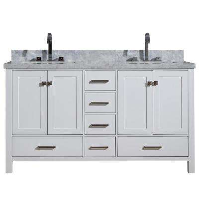 Cambridge 61 in. Bath Vanity in White with Marble Vanity Top in White with White Basins