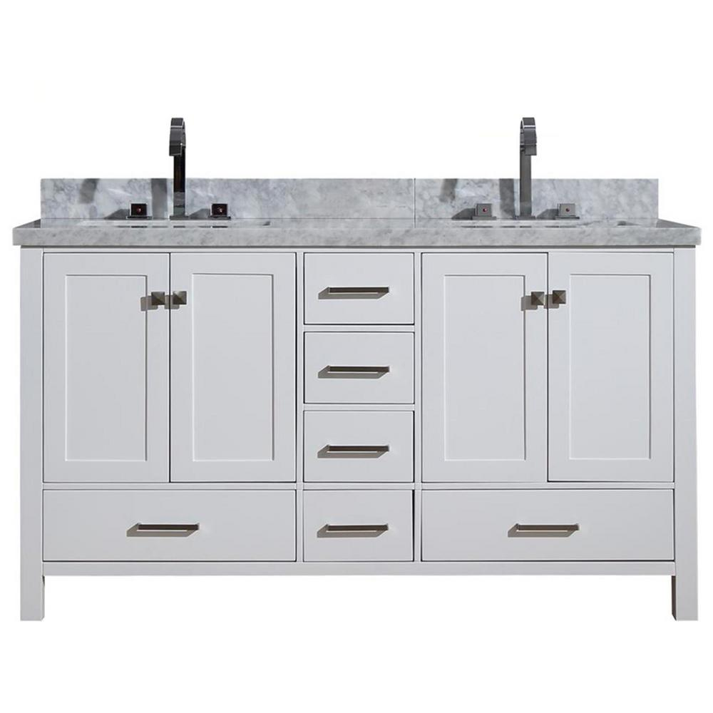 Cambridge 61 in. Bath Vanity in White with Marble Vanity Top