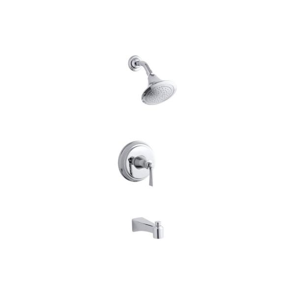 Archer 1-Handle 1-Spray 2.0 GPM Tub and Shower Faucet with Lever Handle in Polished Chrome (Valve Not Included)