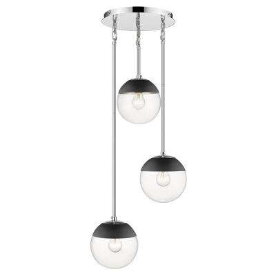 Dixon 3-Light Pendant in Chrome with Clear Glass and Black Cap