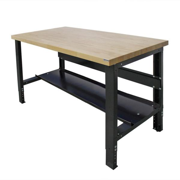 30 in. x 60 in. Heavy-Duty Adjustable Height Workbench with Solid Hardwood Top and Bottom Shelf