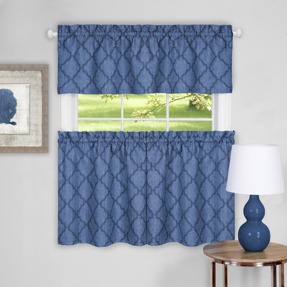 Achim Colby Blue Polyester Tier and Valance Curtain Set - 58 in. W x 24 in. L