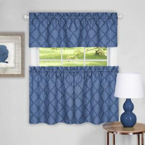 Achim Colby Blue Polyester Tier and Valance Curtain Set - 58 inch W x 24 inch L by Achim