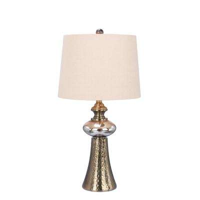 27 in. Antique Copper and Mercury Glass Metal and Glass Table Lamp
