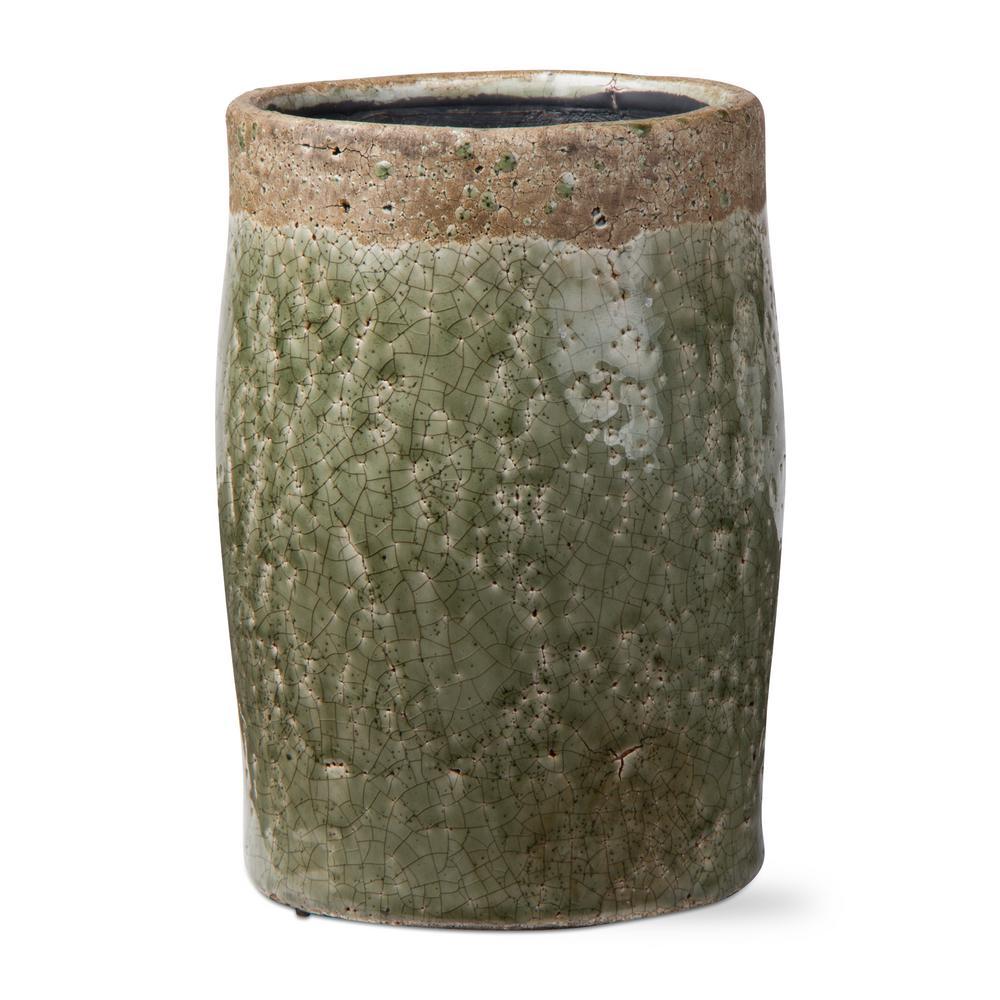 Crackle Glazed Rustic Green Terra Cotta Vase