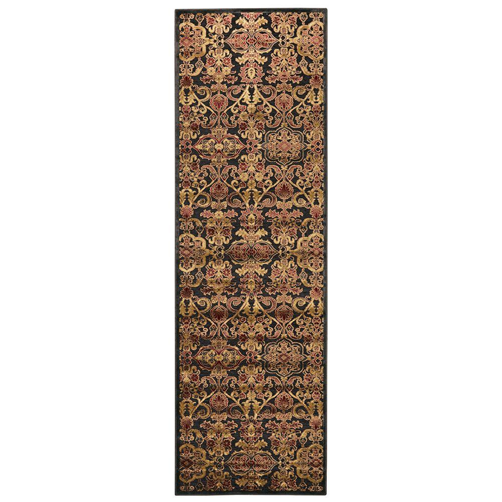 Feizy Saphir Azar Dark Chocolate/Multi 2 ft. 6 in. x 8 ft. Indoor Runner