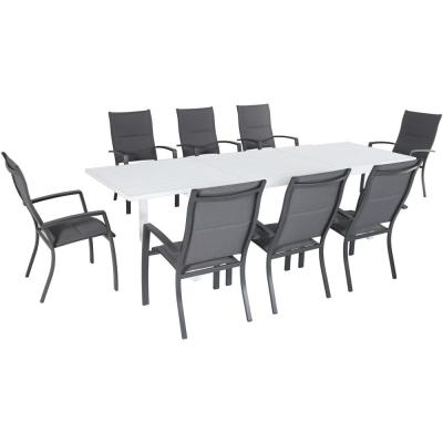 Del Mar 9-Piece Aluminum Outdoor Dining Set with 8 Padded Sling Chairs and Expandable Dining Table