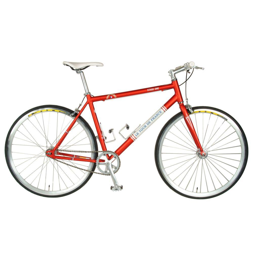 Tour de France Stage One Vintage Fixie Bicycle, 700c Wheels, Men's Bike, 45 cm Frame in Red
