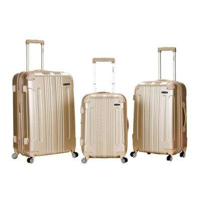 F190-Champagne ABS 3-Piece Upright Set with Spinner Wheels Luggage