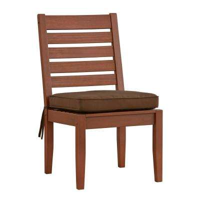 Verdon Gorge Brown Wood Outdoor Dining Chair with Brown Cushion (2-Pack)