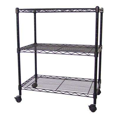 28 in. H x 24 in. W x 14 in. D 3-Tier Wire Black Steel with Casters NSF Multi-Use Shelving Unit