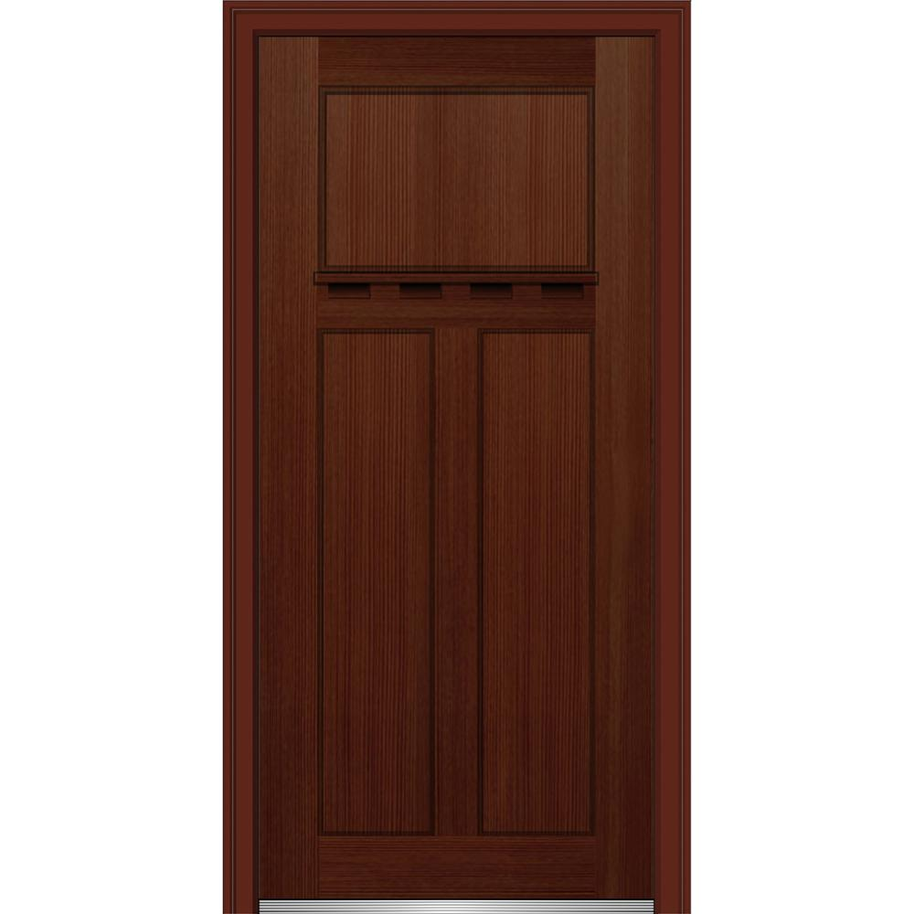 36 in. x 80 in. Shaker Left-Hand Craftsman 3-Panel Stained Fiberglass