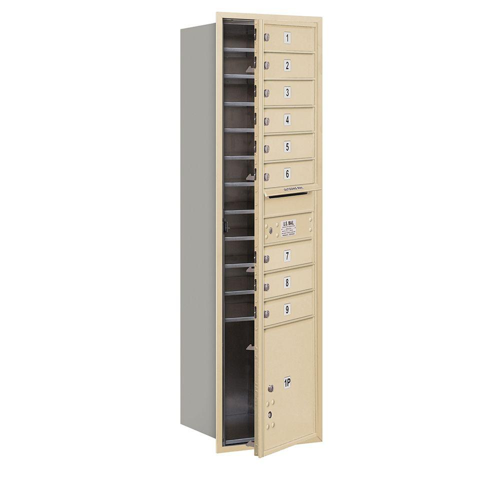 Salsbury Industries 56-3/4 in. H x 16-3/4 in. W Sandstone Front Loading 4C Horizontal Mailbox with 9 MB1 Doors/1 PL