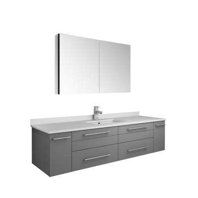 Lucera 60 in. W Wall Hung Vanity in Gray with Quartz Stone Vanity Top in White with White Basin and Medicine Cabinet