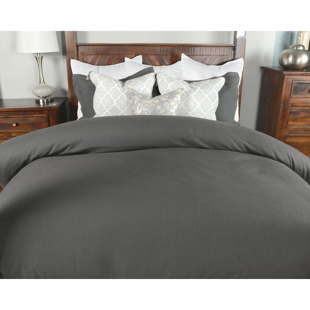 Harlow Charcoal Linen Blend Queen Duvet Cover