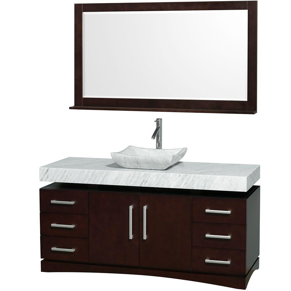 Wyndham Collection Monterey 60 in. Vanity in Espresso with Marble Vanity Top in Carrara White and Sink-DISCONTINUED