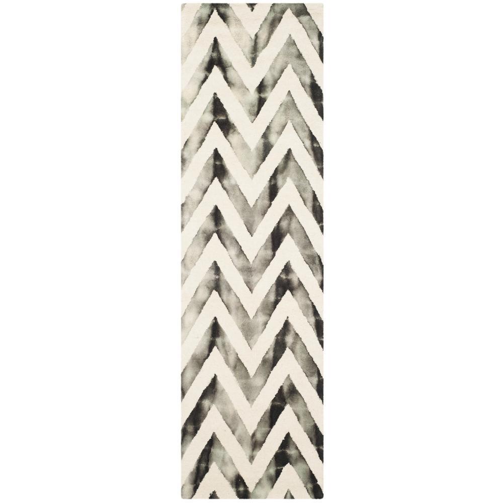 Dip Dye Ivory/Charcoal 2 ft. x 12 ft. Runner Rug