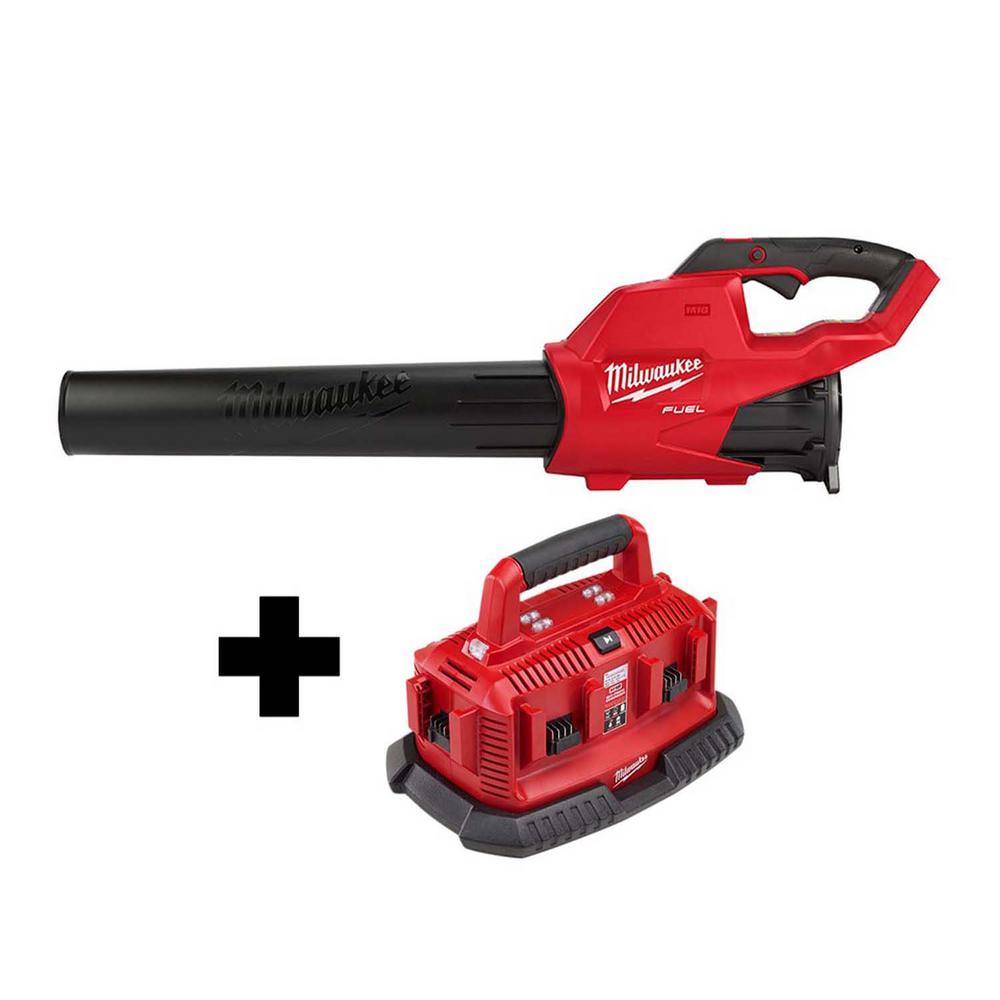 Milwaukee M18 FUEL 120 MPH 450 CFM 18-Volt Lithium-Ion Brushless Cordless Handheld Blower W/ M18 6-Port Sequential Battery Charger