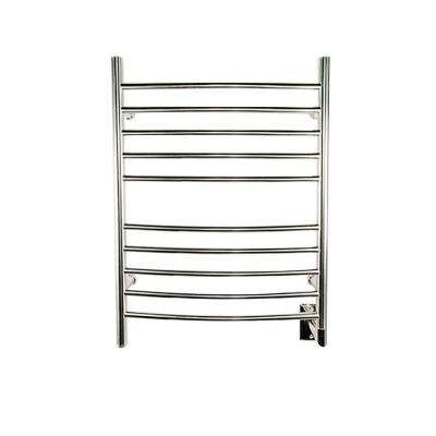 Radiant Curved Hardwired 24 in. W x 32 in. H 10-Bar Electric Towel Warmer in Polished Stainless Steel