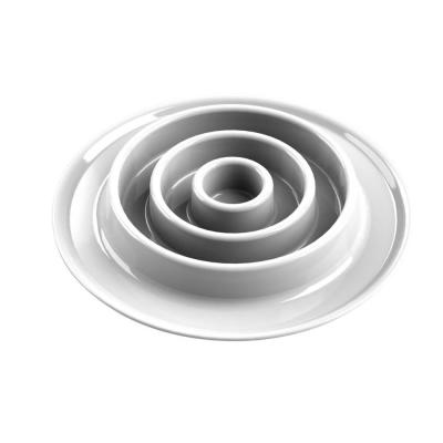 Slow Chow Concentric Circle Medium Feeder in White