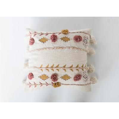 White Embroidered and Appliqued 20 in. x 20 in. Throw Pillow