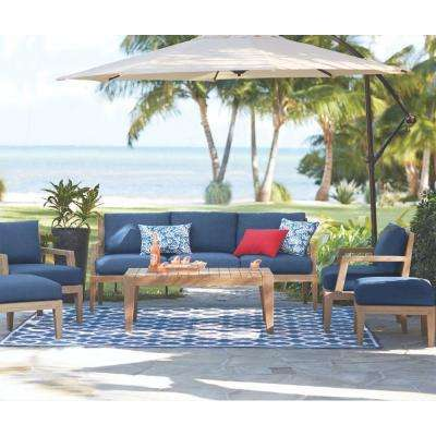 Bermuda 6 Piece All Weather Eucalyptus Wood Patio Deep Seating Set With  Indigo Fabric