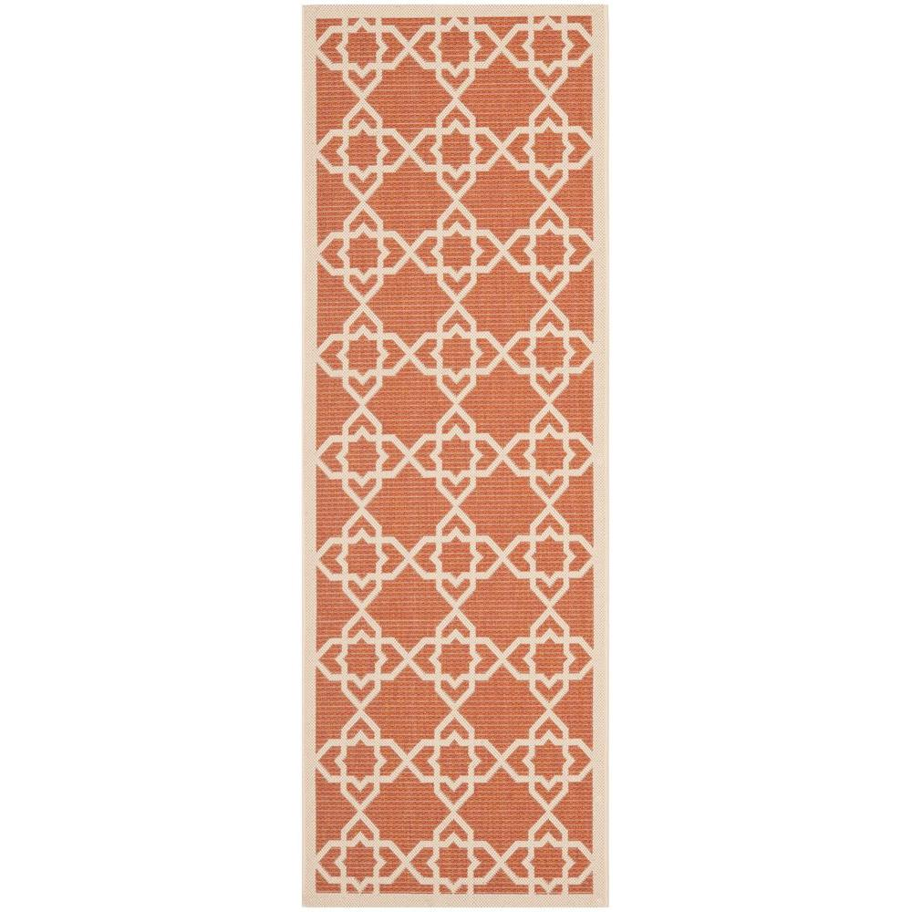 Safavieh Courtyard Terracotta/Beige 2 ft. 3 in. x 10 ft. Indoor/Outdoor Runner