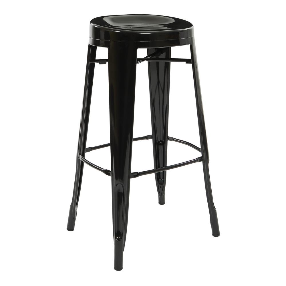 OSP Home Furnishings Stockton 30 in. Barstool in Black (4 per Carton), Black Metal Finish The Stockton 30 in. Barstool is the definition of casual sitting. This backless style stool comes fully assembled and is stackable for convenience. Perfect for house guests when throwing dinner parties or simply relaxing at home. Color: Black Metal Finish.