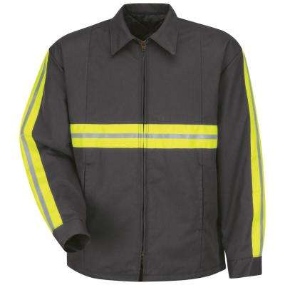 Men's Small Charcoal with Striping Enhanced Visibility Perma-Lined Panel Jacket