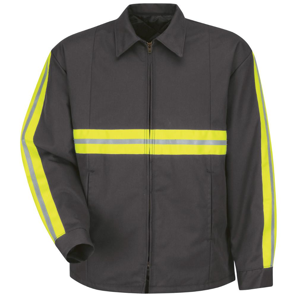 Men's Large Charcoal with Striping Enhanced Visibility Perma-Lined Panel Jacket
