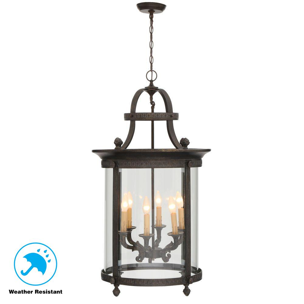 World Imports Chatham Collection 6-Light French Bronze Outdoor Hanging Mount Chandelier Lantern